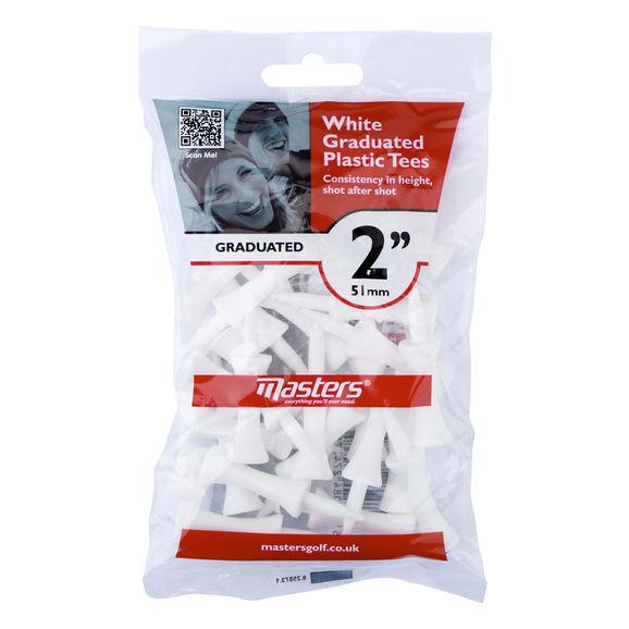 Plastic Graduated Tees 2in bag 25 White